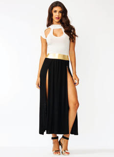 Cut-Out Two-Tone Maxi Dress