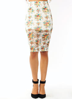 Flower Child Lace Pencil Skirt