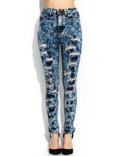 High-Waisted Acid Wash Jeans
