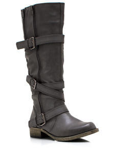 Buckled And Zipped Riding Boots