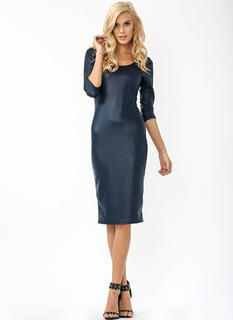 Two Scoops Faux Leather Midi Dress