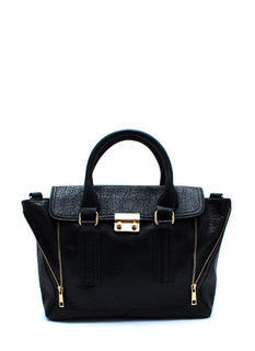 Faux Leather Zipper Duo Satchel