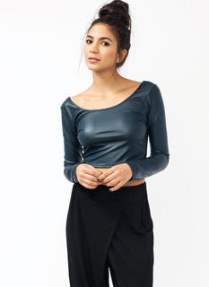 Faux Leather Scoop Back Top