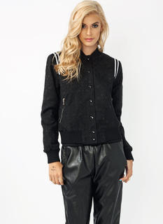 Jacquard Striped Bomber Jacket