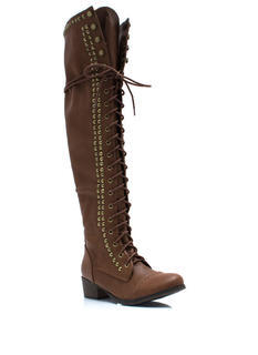 Take It Higher Studded Lace-Up Boots