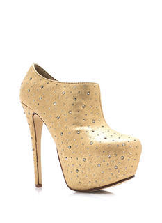 Metallic Bedazzled Platform Booties