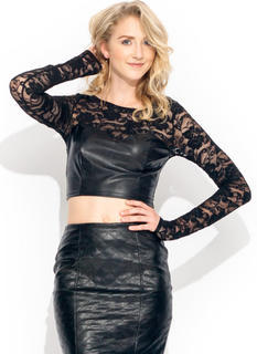 Faux Leather N Lace Top