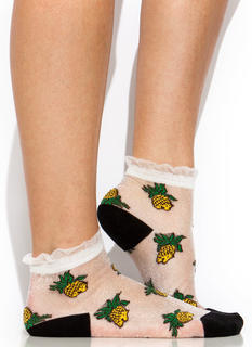 Pineapple A Day Sheer Mesh Socks