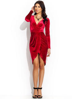 Double Surplice Velvet Dress