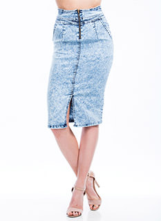 Zippy Denim Pencil Skirt