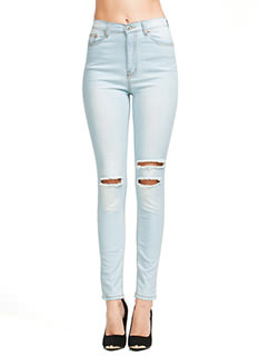 Slashed High-Waisted Jeans
