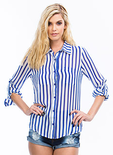 Striped Semi-Sheer Blouse