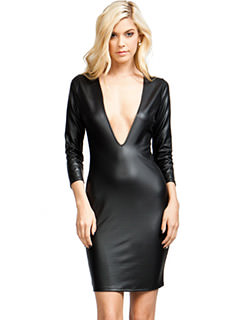 V Yourself Slick Plunging Dress