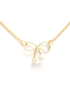 Pearly Girl Wire Bow Necklace
