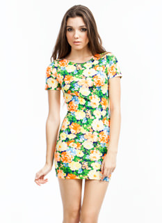 Floral Collage Cut-Out Dress
