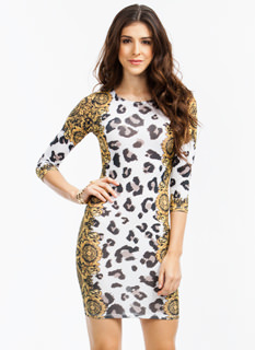 Spot 'N Scroll Leopard Filigree Dress