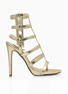 Caged In Metallic Gladiator Heels