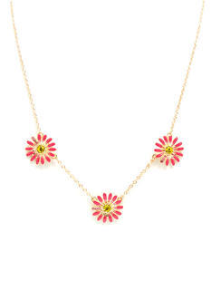 Jeweled Triple Daisy Necklace