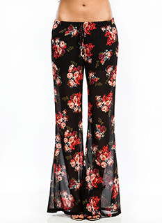 Rose Parade Chiffon Bell-Bottom Pants