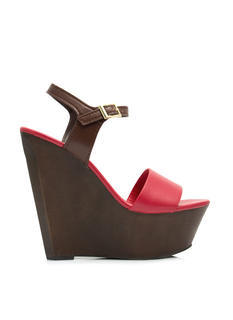 Angular Faux Wood Strappy Wedges
