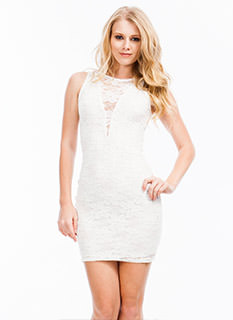 Lace Stay Together Plunging Dress