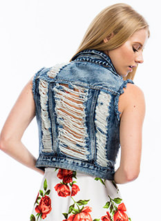 Distressed Out Denim Vest