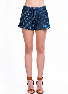 Time To Distress Denim Drawstring Shorts