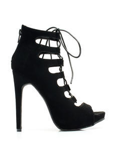 Corset It Off Lace-Up Cut-Out Heels