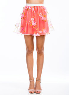 Fool For Tulle Floral Flared Skirt