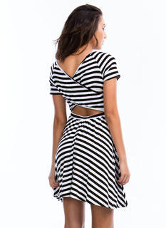 Striped Cross Back Skater Dress