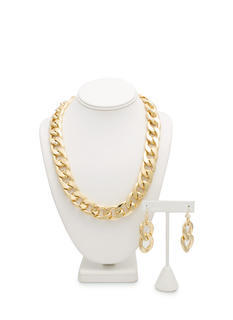 Heavy Metal Chain Link Necklace Set