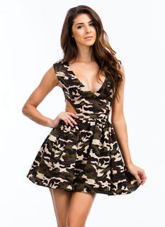 Blend In Camo Cut-Out Dress