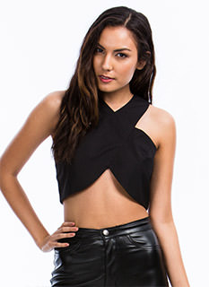 Cross Front Cropped Tank