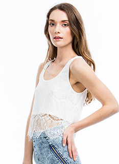 Fall Into Lace Overlay Cropped Top