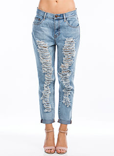 Slashed N Frayed Boyfriend Jeans