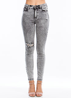 Acid Washed Out Skinny Jeans