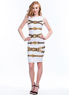 Lion N Sun Metallic Bodycon Dress
