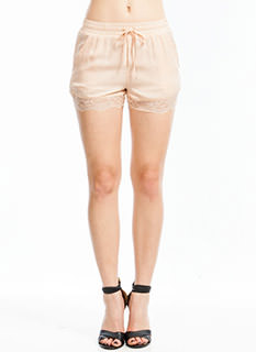 Lace Trim Chiffon Shorts