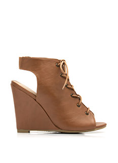 Corset Lace-Up Bootie Wedges