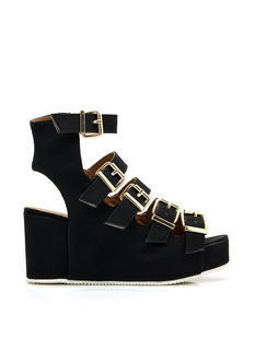 Buckle Down Cut-Out Open-Toe Wedges