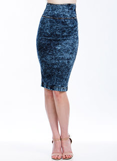 Throwback Acid Wash Pencil Skirt