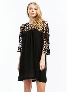 Looped Lattice Shift Dress