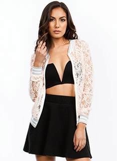 Lace Statement Bomber Jacket