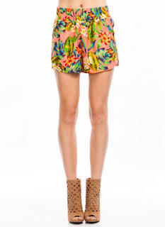 Island Vacation Tropical Print Shorts