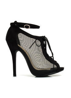 All Meshed Up Strappy Lace-Up Heels