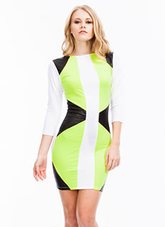 Neon Brights Colorblock Bodycon Dress