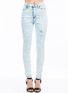 High-Waisted Mineral Wash Jeans
