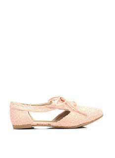 Lace And Laced Cut-Out Oxford Flats