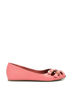 Double Crossed Buckled Peep-Toe Flats