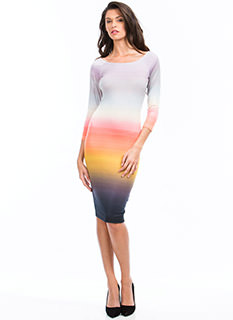 Daylight Watercolor Ombre Midi Dress